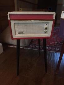 Dansette 'Bermuda' Record Player in Flaming Red with Rare Turntable - fully serviced and on legs !!