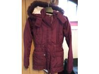 girls winter coat- age 8-9 parker style -maroon - excellent condition