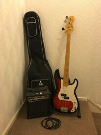 Bass Guitar, Amp, Lead, Padded Case Bundle