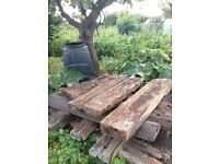 15 used railway sleepers in varied conditions