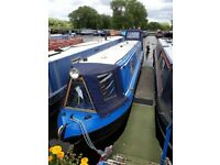 45ft cruiser back narrow boat with pram cover