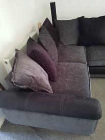 Dfs black corner sofa.