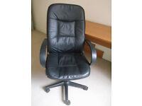 Black Faux Leather Desk Chair