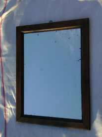 Old Vintage Small French Mirror Oak Frame Shabby Chic