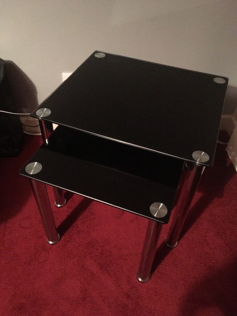 Black glass nest of 2 tables and tv unit