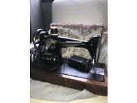Original Singer Sewing Machine with oak case (needs retired/repaired)
