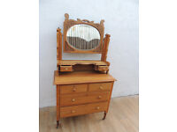 Antique satinwood quality chest of drawers with mirror (Delivery)