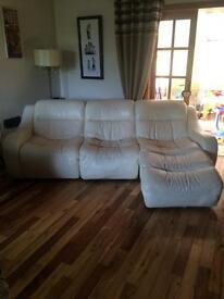 5 piece white leather sofa