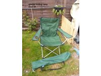 adults folding camp/garden chair green with storage bag