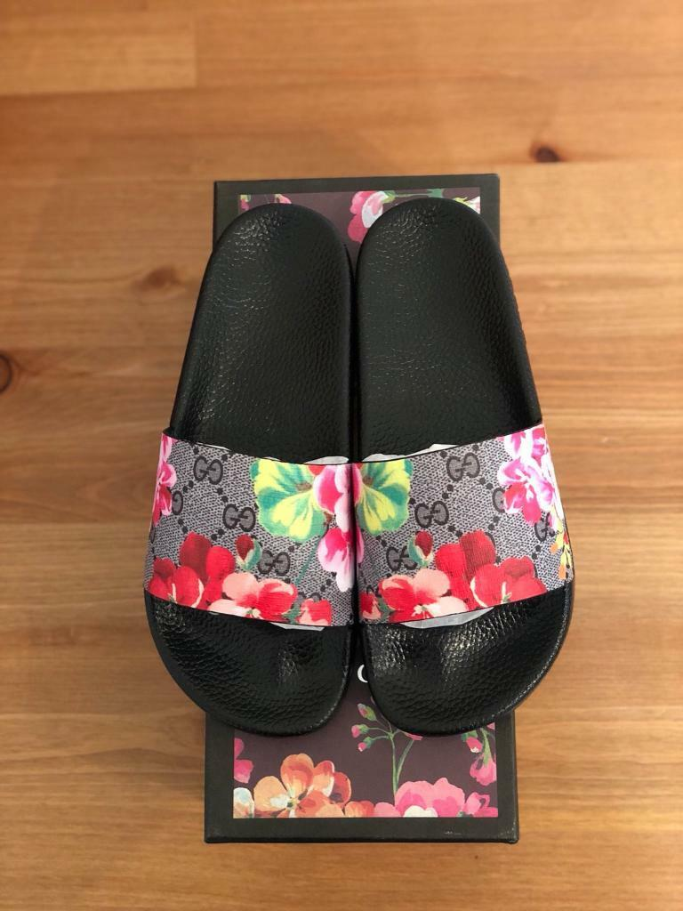 Womans Gucci Sliders Sandals Flip Flops Floral Uk Size 5 -5979
