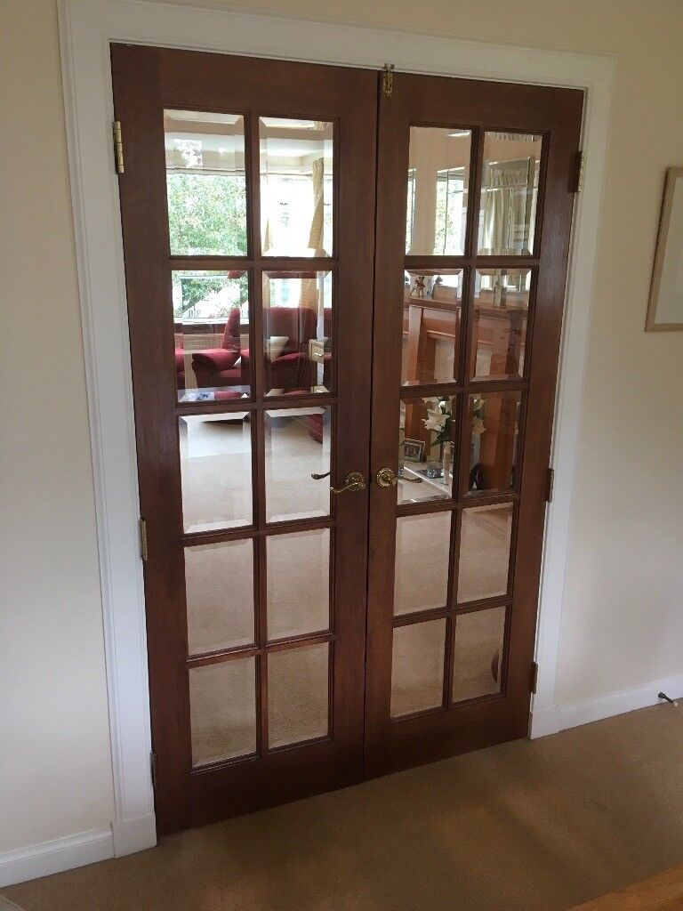 Mahogany French Doors 48 Wide X 78 High Bevelled Glass In Bearsden