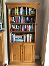 Waxed pine bookcase/display cabinet