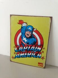 Captain America tin sign superhero for boys bedroom wall decor NEW marvel comics