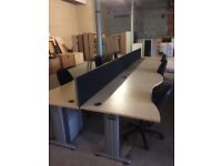 Pod set of 6 waves front desks, chairs and drawers