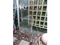 Garden chair and candelabra