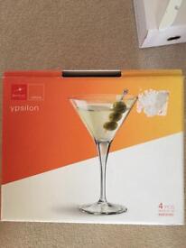 4 martini glasses brand new ypsilon