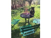 Glass top black garden bistro table with strong metal chairs
