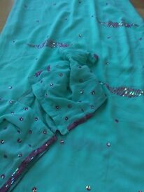 Light green saree with pink bead work