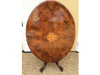 Antique Victorian Burr Walnut Inlaid Tilting Loo Table