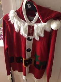 Men's small Christmas santa hoody jumper new with tags