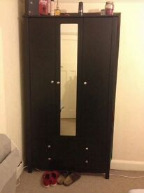 Wardrobe, Table, Small chair, Mirror