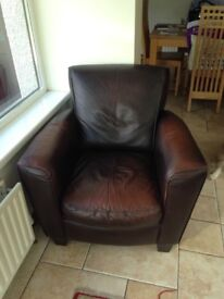 Leather sofa and single chair
