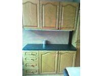 Mid oak kitchen units