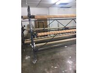 CARPET STAND/ RACK/ ROLL HOLDER (X4): HEAVY DUTY YANKEE, 3M 8 ROLL STAND, x2- 4M 6 ROLL STAND
