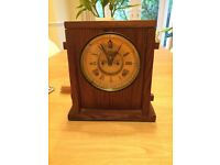 American clock-movement in pitch pine wooden case - mid-century 1950s mantel clock with chime