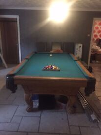 Pool table 8ft, accessories and light included. Collection only