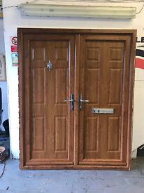 Double Front Doors - Wood Effect UPVC