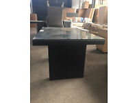 Black Rattan Style Glass Topped Patio Table