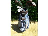 GOLF BAG AND ASSORTED CLUBS