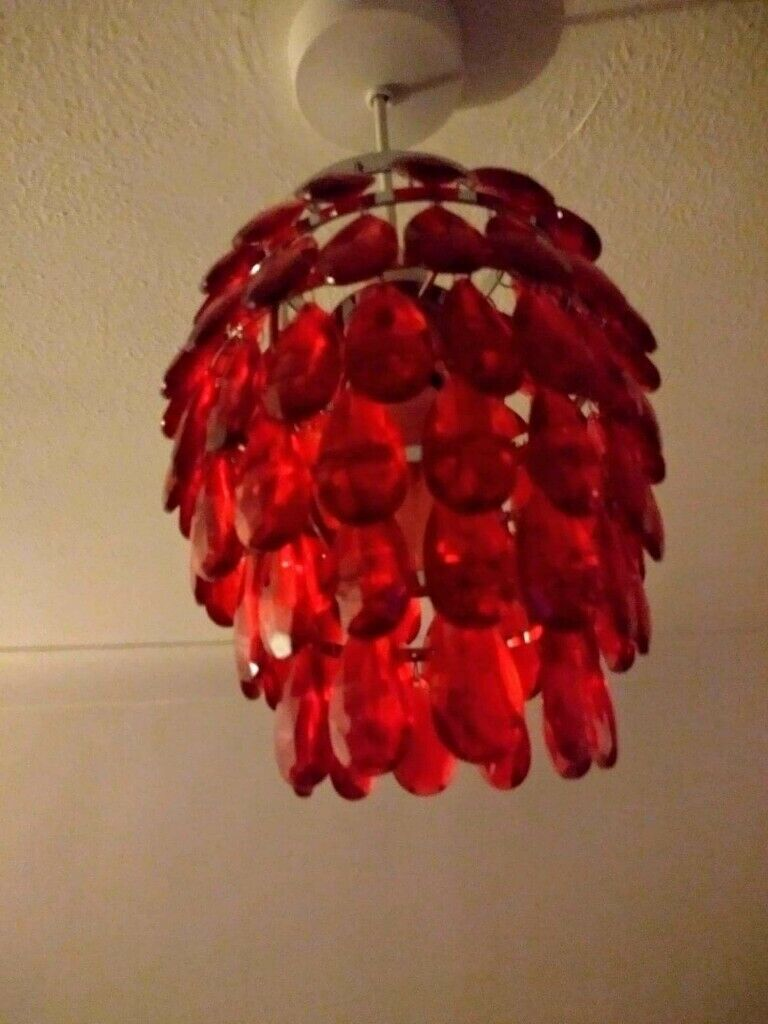 3 X Red Crystal Effect Chandeliers Pretty Decorative Will Sell Separately In Coulby Newham