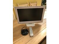 "21"" Toshiba flat screen white TV with DVD"