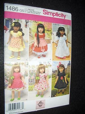 "18"" DOLL 6 Vintage Dresses NEW Simplicity1486 Pattern Fits American Girl"