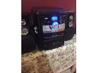 JDW Stereo Mini Hi-Fi system Turntable Radio Cassette and Turntable