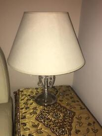 Table lamp with cream shade