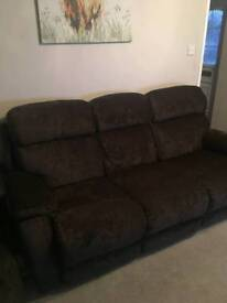 Electric Recliner brown sofa, chair and pouffe