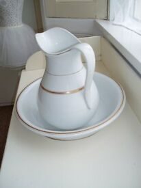 Victorian white ceramic jug & bowl set with gold trim