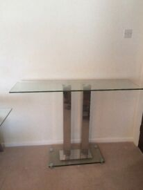 Glass and chrome console table