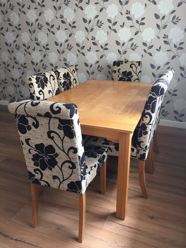 Dining table with 6 fabric chairsin Perth, Perth and KinrossGumtree - Dining table with 6 fabric chairs. Good quality, sturdy but well used dining table with 6 fabric chairs. Bought from James Barclay 4 years ago. Its still in solid condition but as can be seen in the photos the table top is quite marked, this has just...