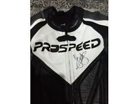 Pro speed leathers signed by John McGuiness