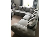 Large Grey Corner Sofa settee, 6 months old, from a smoke and pet free home.