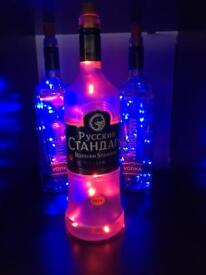 Bottle lamp with Led lights. Man cave.