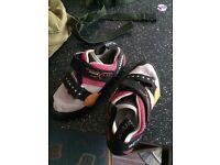 Woman's new Scarpa climbing shoes