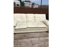 Cream Leather Sofa Suite, 3 Seater and 2 Chairs