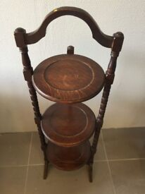 Vintage wooden 3-tier folding plant cake stand