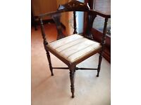 Corner Chair, (angle chair) with some fretwork and inlay as shown. Genuine Antique