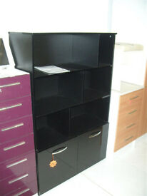 Hygena Hayward 6 Shelf 2 Door Display Unit - Black Gloss (Please call - Michal 07851770393)